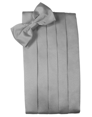 Set Luxury Satin Cummerbund & Bow Tie - Silver - Faja