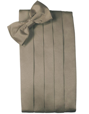 Set Luxury Satin Cummerbund & Bow Tie - Stone - Faja