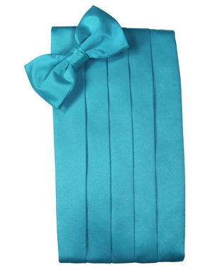 Set Luxury Satin Cummerbund & Bow Tie - Turquoise - Faja