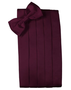 Set Luxury Satin Cummerbund & Bow Tie - Wine - Faja