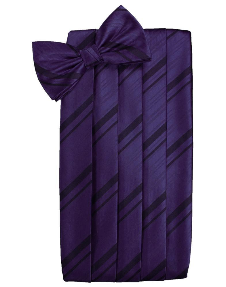 Set Striped Satin Cummerbund & Bow Tie - Black - Faja