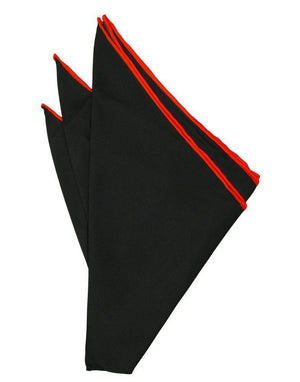 Silk Hand Rolled Trim Pocket Square - Black/Red - Pañuelo