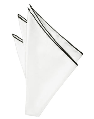 Silk Hand Rolled Trim Pocket Square - White/Black - Pañuelo
