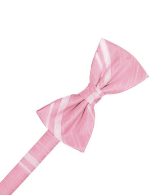 Striped Satin Kids Bow Tie - Coral - corbatin niño