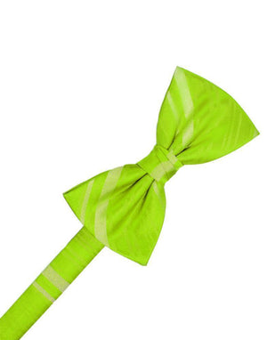 Striped Satin Kids Bow Tie - Lime - corbatin niño