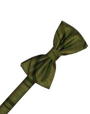 Striped Satin Kids Bow Tie - Moss - corbatin niño