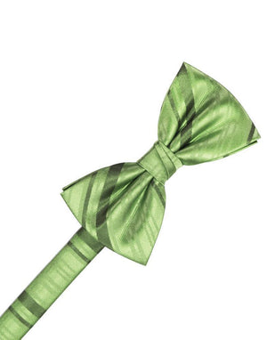 Striped Satin Kids Bow Tie - Sage - corbatin niño
