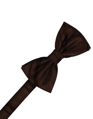 Striped Satin Kids Bow Tie - Truffle - corbatin niño