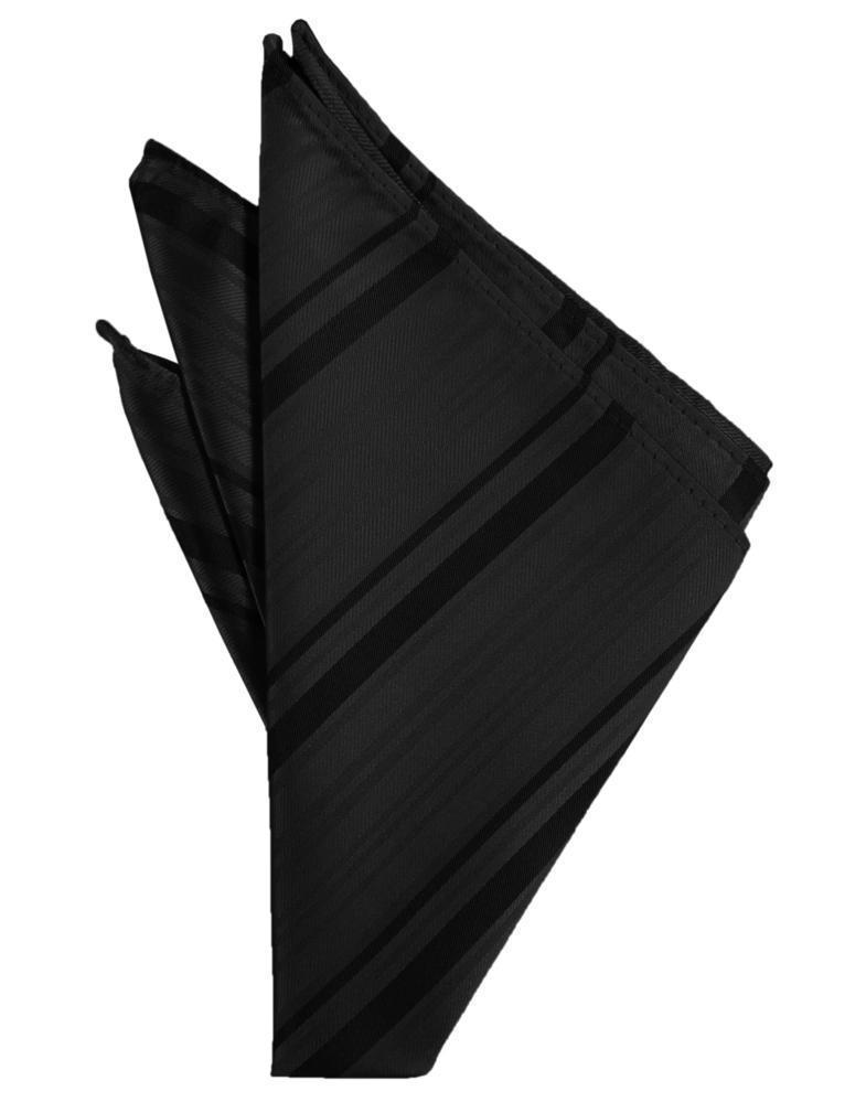 Striped Satin Pocket Square - Black - Pañuelo Caballero