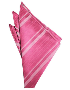 Striped Satin Pocket Square - Bubblegum - Pañuelo Caballero
