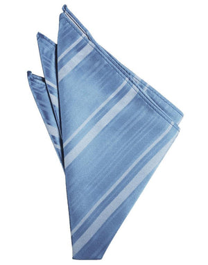 Striped Satin Pocket Square - Cornflower - Pañuelo Caballero
