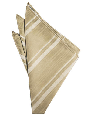 Striped Satin Pocket Square - Golden - Pañuelo Caballero