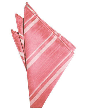 Striped Satin Pocket Square - Guava - Pañuelo Caballero