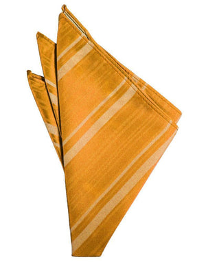 Striped Satin Pocket Square - Mandarin - Pañuelo Caballero