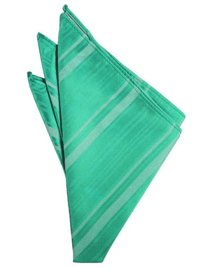Striped Satin Pocket Square - Mermaid - Pañuelo Caballero