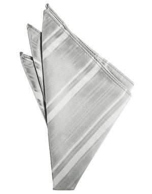 Striped Satin Pocket Square - Platinum - Pañuelo Caballero