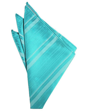 Striped Satin Pocket Square - Pool - Pañuelo Caballero