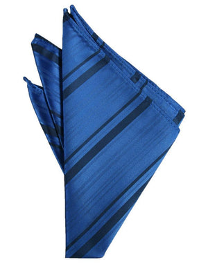 Striped Satin Pocket Square - Royal Blue - Pañuelo Caballero