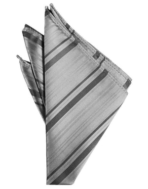 Striped Satin Pocket Square - Silver - Pañuelo Caballero