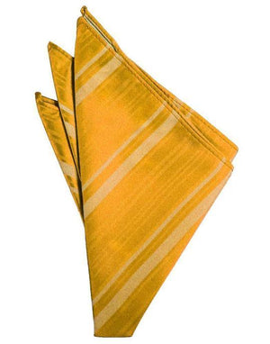 Striped Satin Pocket Square - Tangerine - Pañuelo Caballero