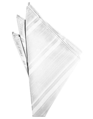Striped Satin Pocket Square - White - Pañuelo Caballero