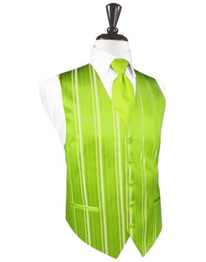 Striped Satin Tuxedo Vest 3 - XS / Lime - Chaleco Caballero