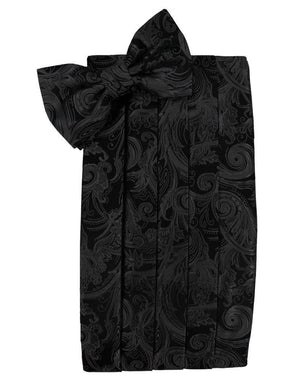 Tapestry Silk Cummerbund & Bow Tie Set - Black - Faja