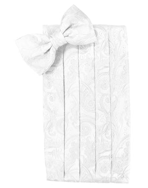 Tapestry Silk Cummerbund & Bow Tie Set - White - Faja