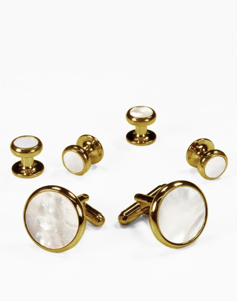 White Mother of Pearl in Gold or Silver Setting Studs &