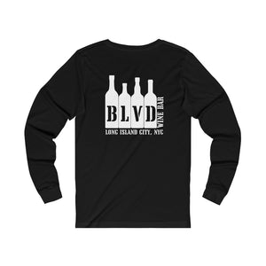 Blvd Wine Bar 'Save Water, Drink Wine' Unisex Jersey Long Sleeve Tee, Black