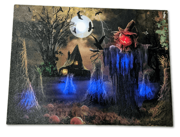Halloween wall art, Spooky Scarecrow, motion detected lights and sound