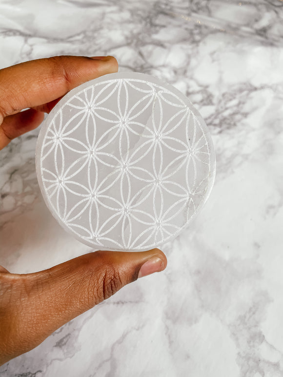 Selenite Flower of Life Charging Plate, Round 3