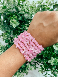 Strawberry Quartz Chips Bracelet
