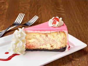 White Chocolate Raspberry Cheesecake |  slice