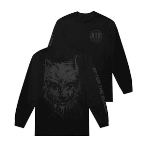 Wolf Drip Puff Print Black Long Sleeve