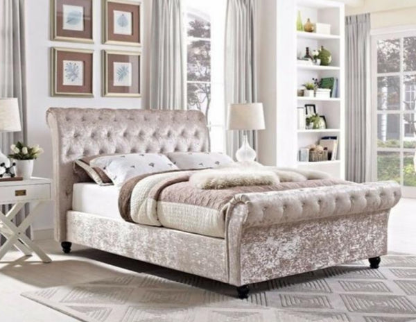 Bordeaux Chesterfield Sleigh Bed