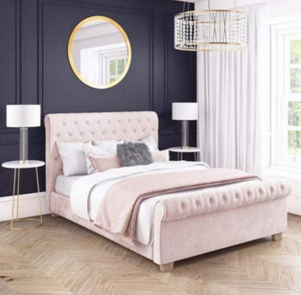 Safina Roll Top Pink Sleigh Bed Diamonte
