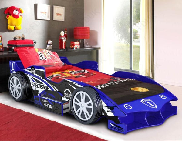 Children's 3FT Single Kids F1 Blue Racing Car Bed Frame