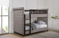 Ava Children's Light Grey Linen Chesterfield Bunk Bed
