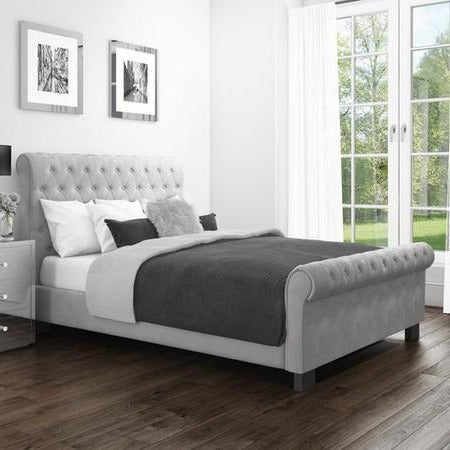 Safina Roll Top Grey Sleigh Bed Buttoned