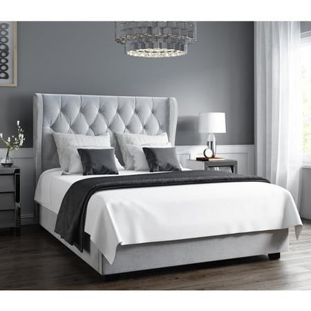Safina Wing Back bed in Grey Plush velvet