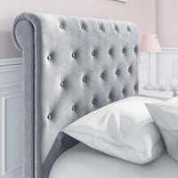 Safina Roll Top Grey Sleigh Bed