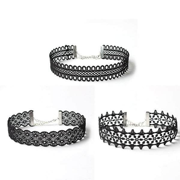 3 Pieces Choker Necklace Set Stretch Velvet Classic Gothic Tattoo Lace Choker