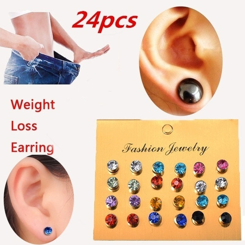 24Pcs/set Magnetic Stud Healthcare Earring Weight Loss Slimming Patch Healthy Stimulating Magnetic Therapy
