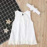 Infant Baby Girls Pure White Sleeveless Lace Dress with Headband for 0-24 Months