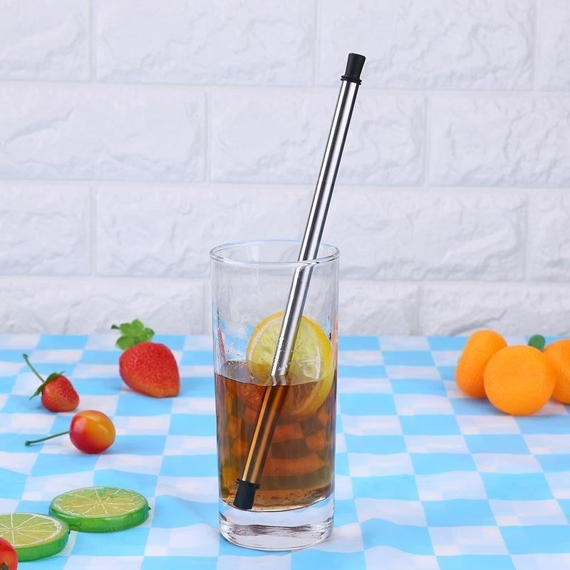 Portable Foldable Reusable Stainless Steel Drinking Straw + Cleaning Brush