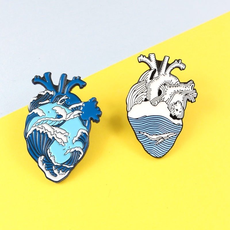 Azure sea Tumbling waves roam shark Forming a Heart shape Metal brooch Creative bold personality badge Denim leather pin