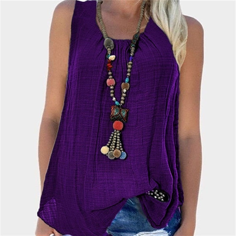 Womens Solid color  Sleeveless Baggy T-shirt Vest Tee Blouse Plus Size Tank Tops