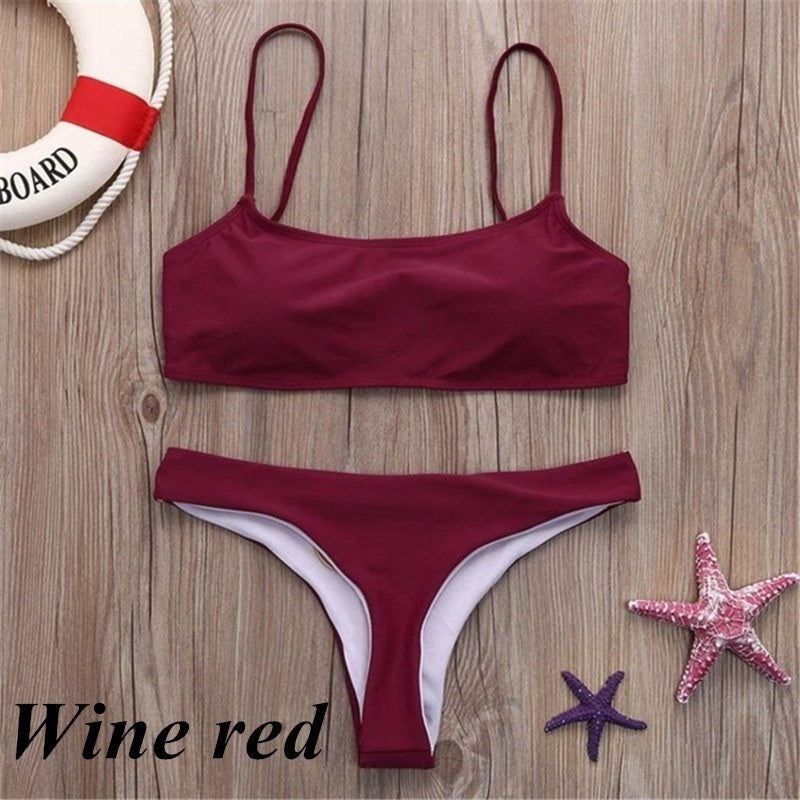 Fashion Swimwear Bathing Suit Set Women Push Up Padded Bra Low Waist Thongs Solid Color Bikini Set Triangle Swimsuit Tankini