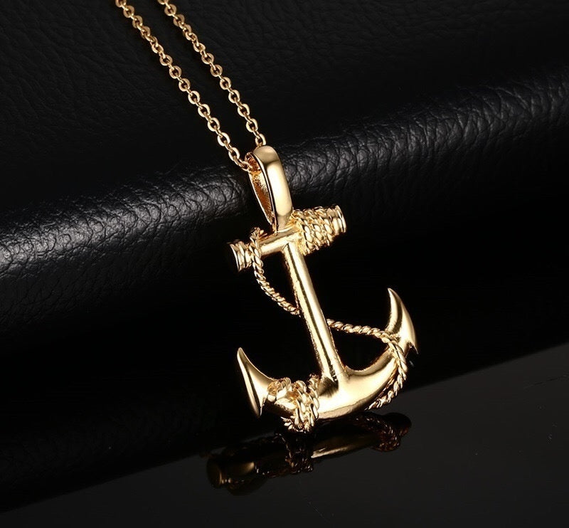 Europe and America to restore ancient ways of selling men's stainless steel anchor necklace personality